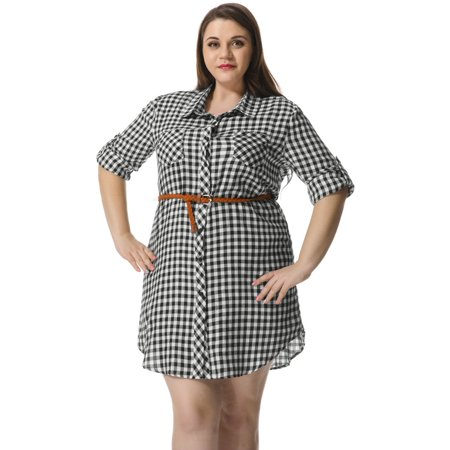 Agnes Orinda Womens Plus Size Belted Plaid Shirt Dress Walmart