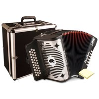 Hohner 3100GB Panther Diatonic Button Accordion in the Key of G inBlack Finish with Hardshell Accordion Case and Accordion Polishing Cloth