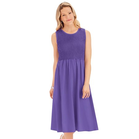 Women's Flattering Empire Waist Solid Color Smocked Knit Dress - Cute Summer Outfit for Any Occasion, Medium, Iris (Halloween Smocked Outfits)