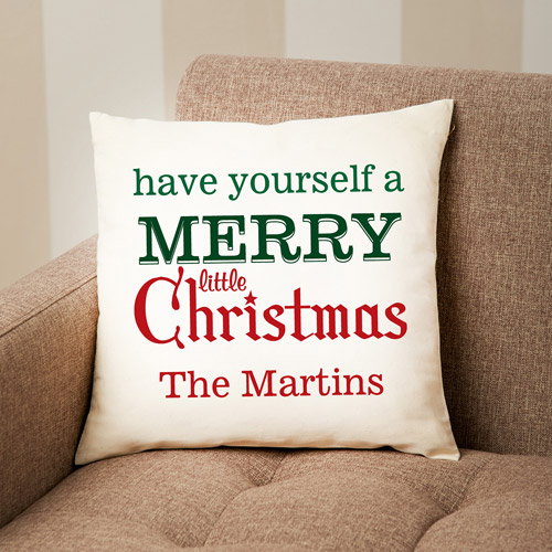 Personalized Merry Little Christmas Pillow