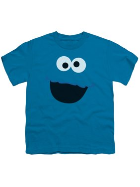 Sesame Street Cookie Monster Face Big Boys Youth Short Sleeve Shirt Turquoise