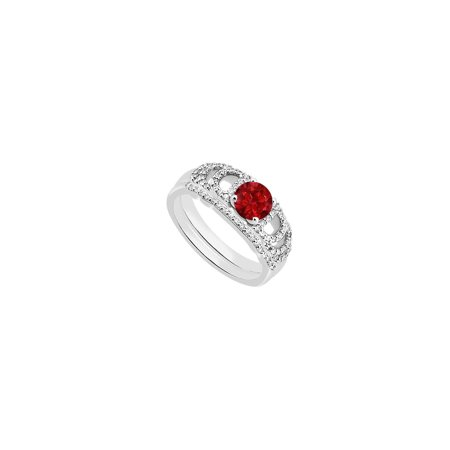 14K White Gold Created Ruby Engagement Ring with Cubic Zirconia Wedding Ring Sets of 1.10 CT TGW - image 2 de 2