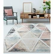 LR Home Kismat 5x7 Ivory Geometric Prism Water Color Effect Indoor Area Rug
