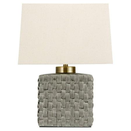Oriental Furniture Basket Weave Gray Porcelain Jar Table Lamp
