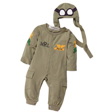 Baby Boo Costume (StylesILove Baby Boy Army Air Force Baby Romper and Hat 2-pc Costume (18-24)
