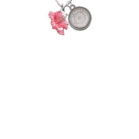 Hibiscus Flower Necklace (Silvertone Hot Pink Hibiscus Flower Sun Sea Sand Serenity Engraved)