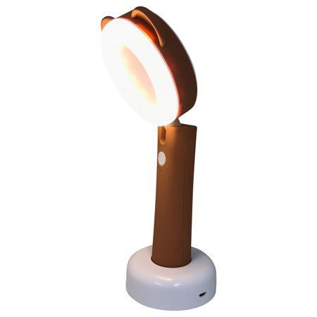 Brown Lamp Cord - 2-in-1 lamp (Desk Lamp and Handheld portable torch) Brown Bear Ears LED Desk Lamp with USB Cord with a rechargable. Product Size: 3.25x3.6x9.6e battery base. Night lamp. Portable