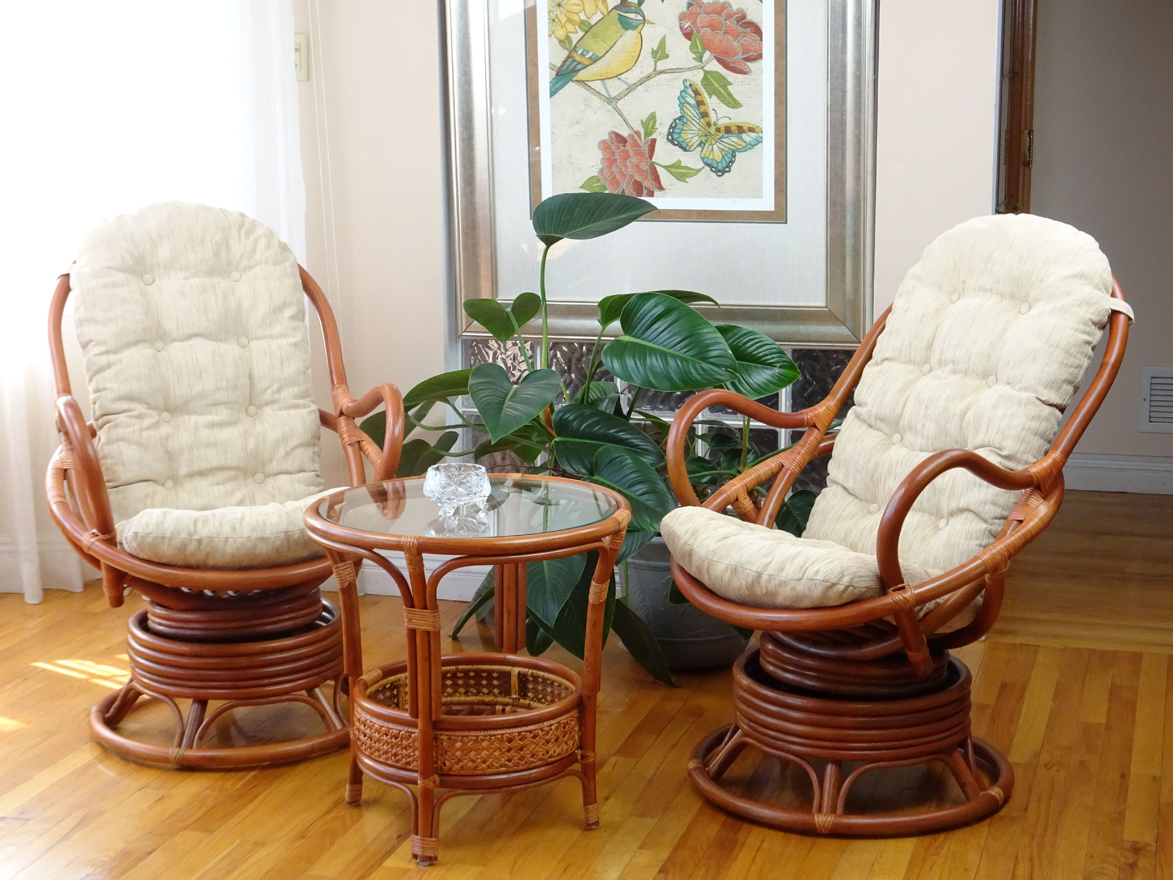 sk new interiors java swivel rocking lounge chair natural handmade rattan wicker with cream cushions, colonial