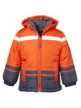 Sportoli Boys' Fleece Lined Hooded Colorblock Winter Puffer Bubble Jacket Coat - Orange (Size 10/12)