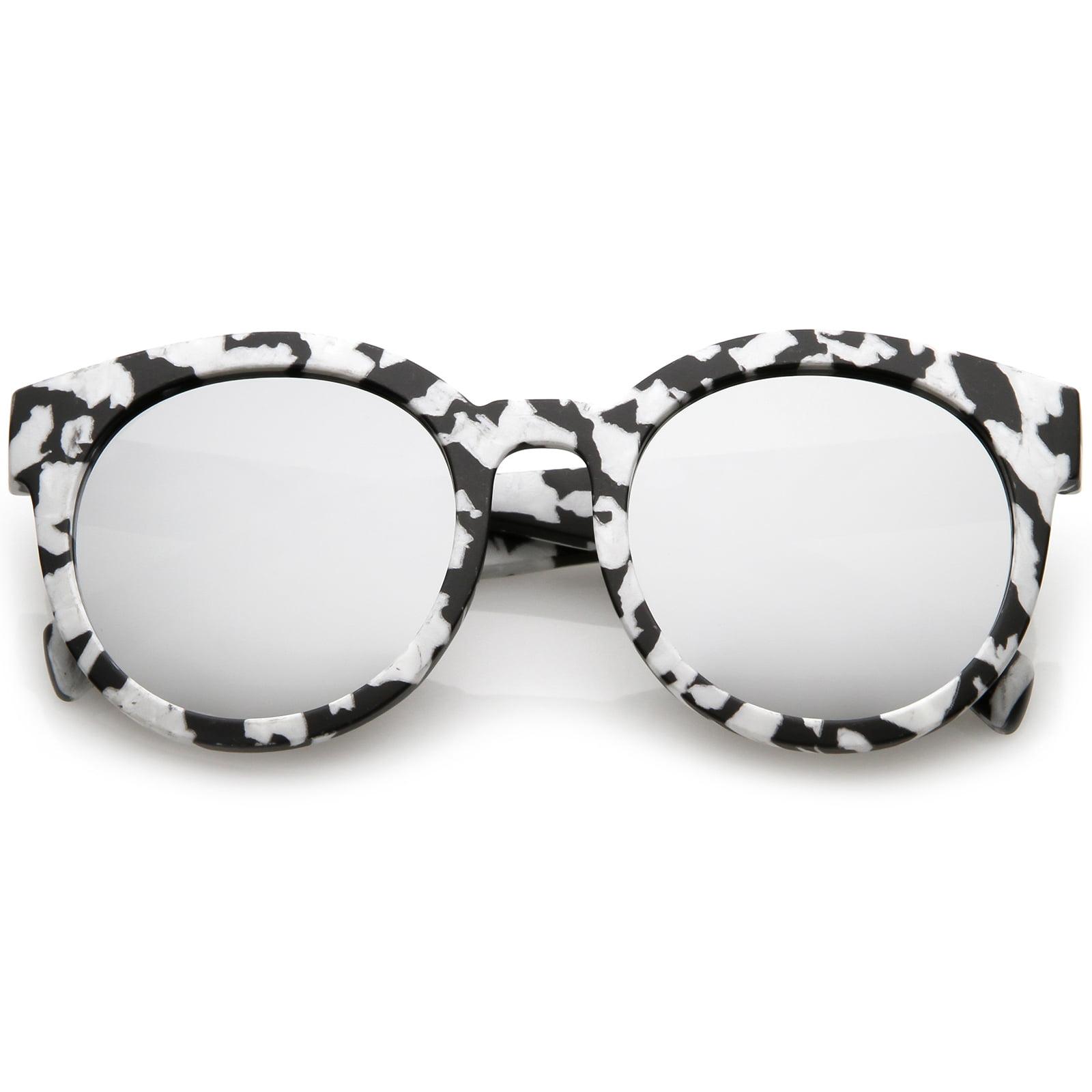 sunglassLA - Women's Matte Horn Rimmed Marble Print Flat Lens Round Sunglasses 54mm - 54mm
