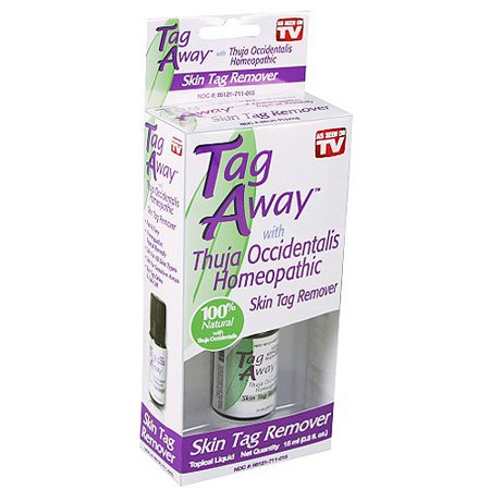 As Seen on TV Tag Away Skin Tag Remover! Make your body smooth again with the As Seen on TV Skin Tag Remover. It works fast, easily and painlessly. Skin tags are small pieces of soft, hanging skin that can appear anywhere on the body. They often are found where skin rubs against other skin or clothing. The liquid formula in Tag Away skin tag remover contains a homeopathic topical remedy, made with natural plant extracts and pure essential oil. It is safe for sensitive areas of the body. Use this fast skin tag remover to remove skin tags that are growing on your neck, underarms or other parts of your body. No need to have these annoying, unsightly flaps with this effective product on hand.