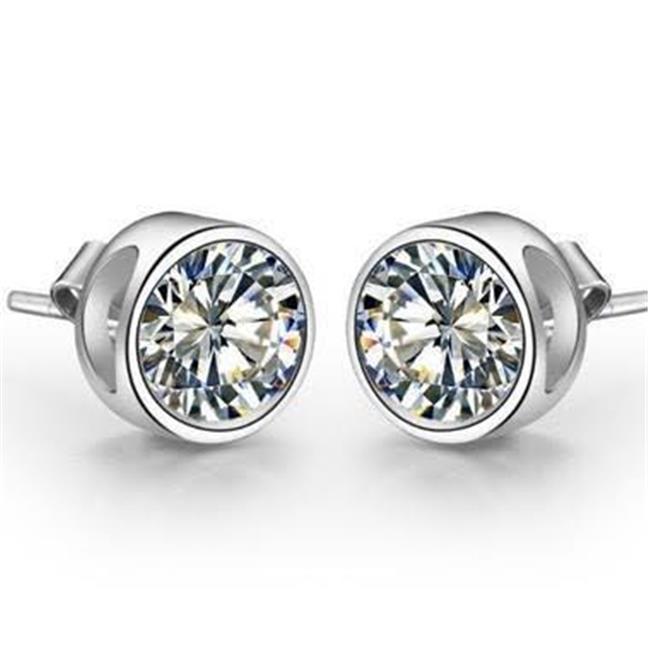 Harry Chad Enterprises HC10123 1.50 CT 14K Womens White Gold Diamond Sparkling Studs Earrings Bezel Set - image 1 of 1