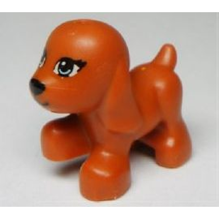 LEGO Animal Dog, Friends, Puppy, Walking with Bright Light Blue Eyes and Black Nose and Mouth Pattern (Scarlett) Minifigure
