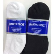 Creswell 6 Pairs Of Mens White And Black Diabetic Ankle Socks 13-15 King Size