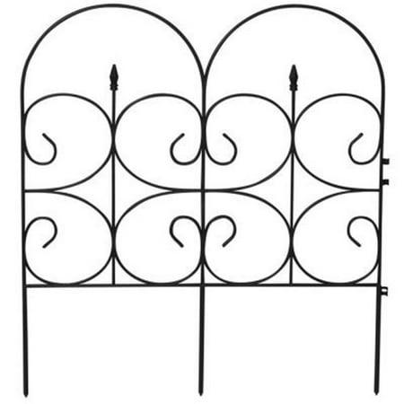 - Victorian Black Resin Fleur De Lis Large Fence Garden Fencing, 14 ft.