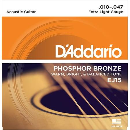 Ej15 Extra Light (D'Addario EJ15 Phosphor Bronze Acoustic Guitar Strings, Extra Light,)