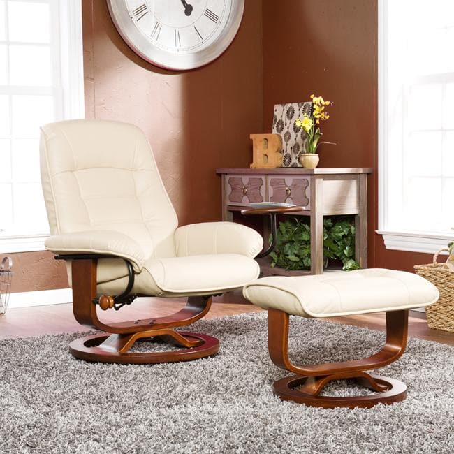 Strick & Bolton  Sonny Taupe Leather Recliner and Ottoman Set