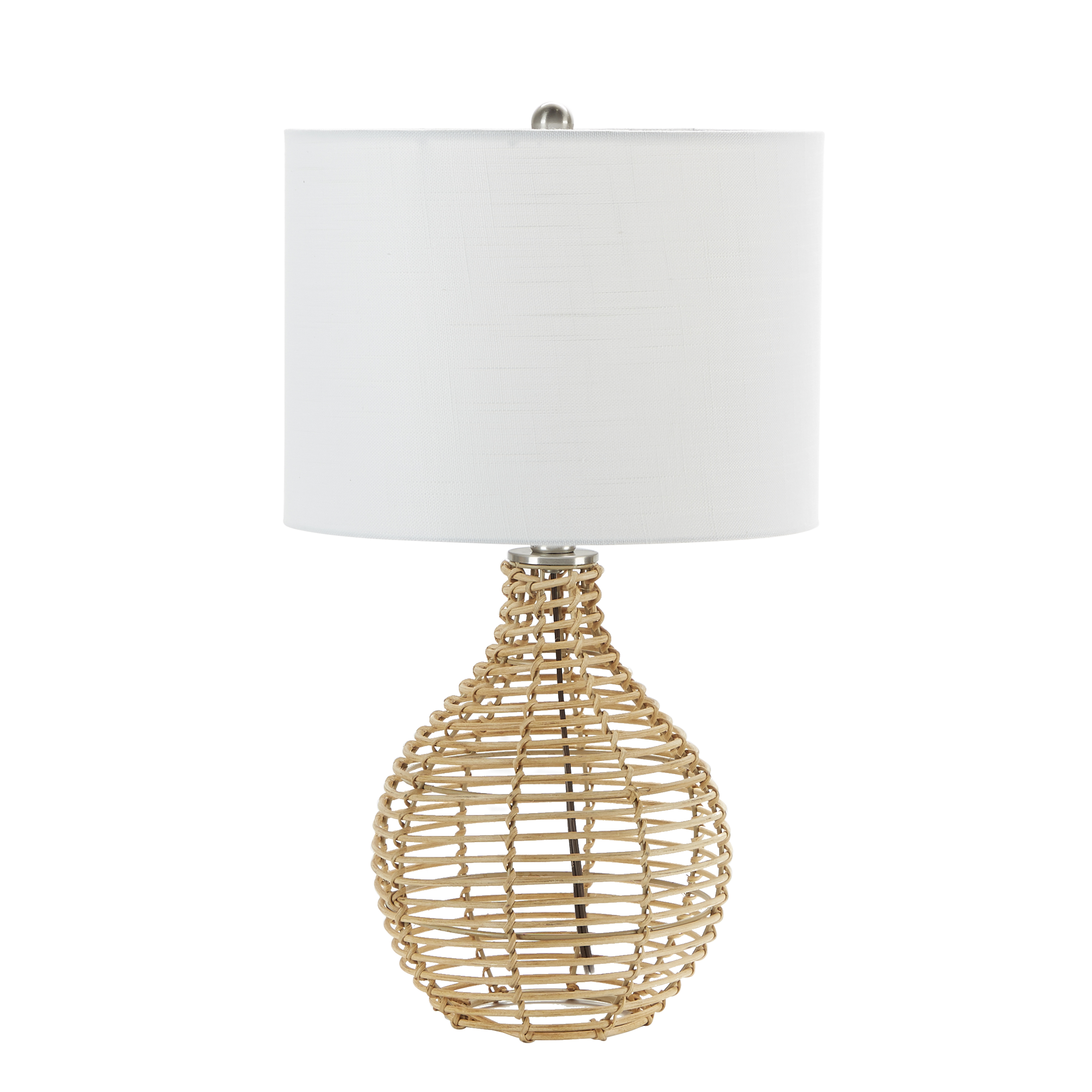 Rattan Jug Style Table Lamp with White Drum Shade