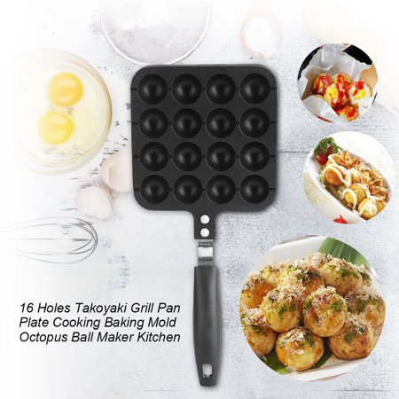 WALFRONT 16 Holes Takoyaki Grill Pan Octopus Ball Plate Home Cooking Baking Tools Kitchen Accessories, Octopus ball grill pan,Takoyaki grill (Grail Kitchen)