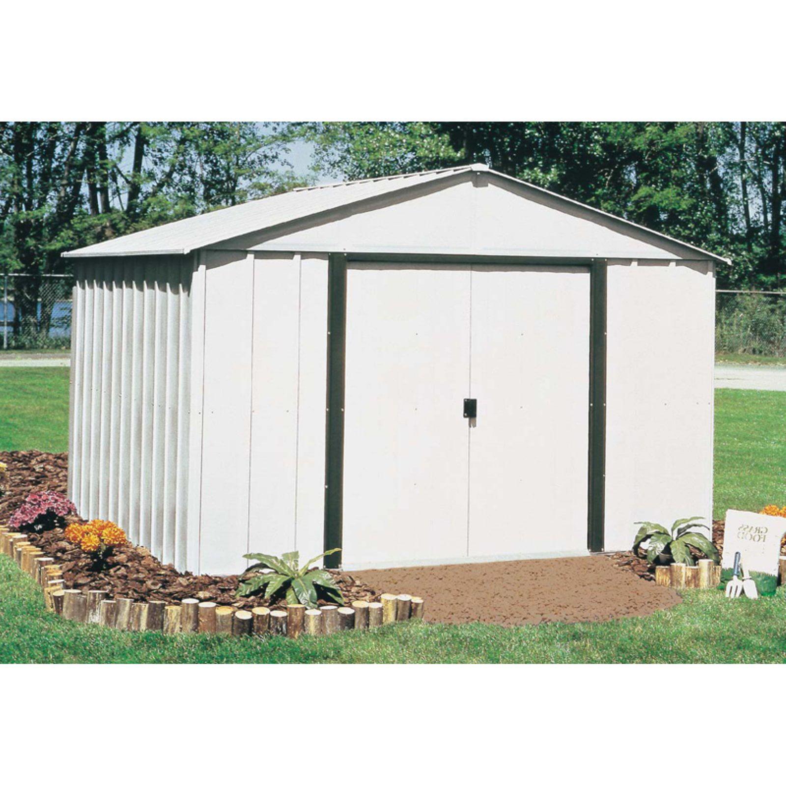 Arlington 10 x 8 ft. Steel Storage Shed Eggshell/Coffee Trim