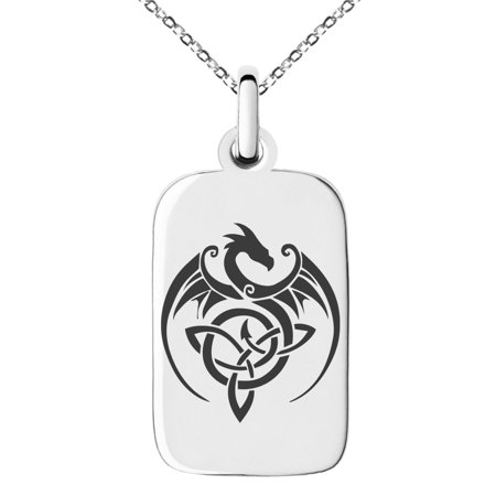 Stainless Steel Celtic Dragon Triquetra Engraved Small Rectangle Dog Tag Charm Pendant Necklace Rectangle Slide Pendant