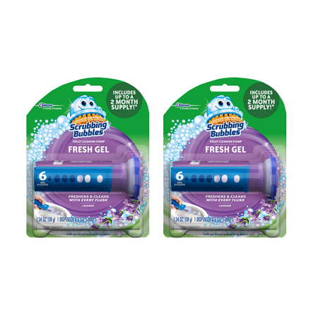 (2 pack) Scrubbing Bubbles Fresh Gel Toilet Cleaning Stamp, Lavender, Dispenser with 6 (Bubble Dispenser Pack)