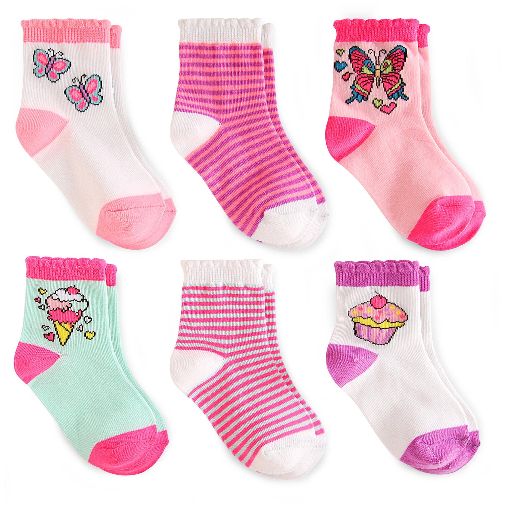 Garanimals Baby Toddler Girls Crew Socks Ages NB-5T, 6-Pack