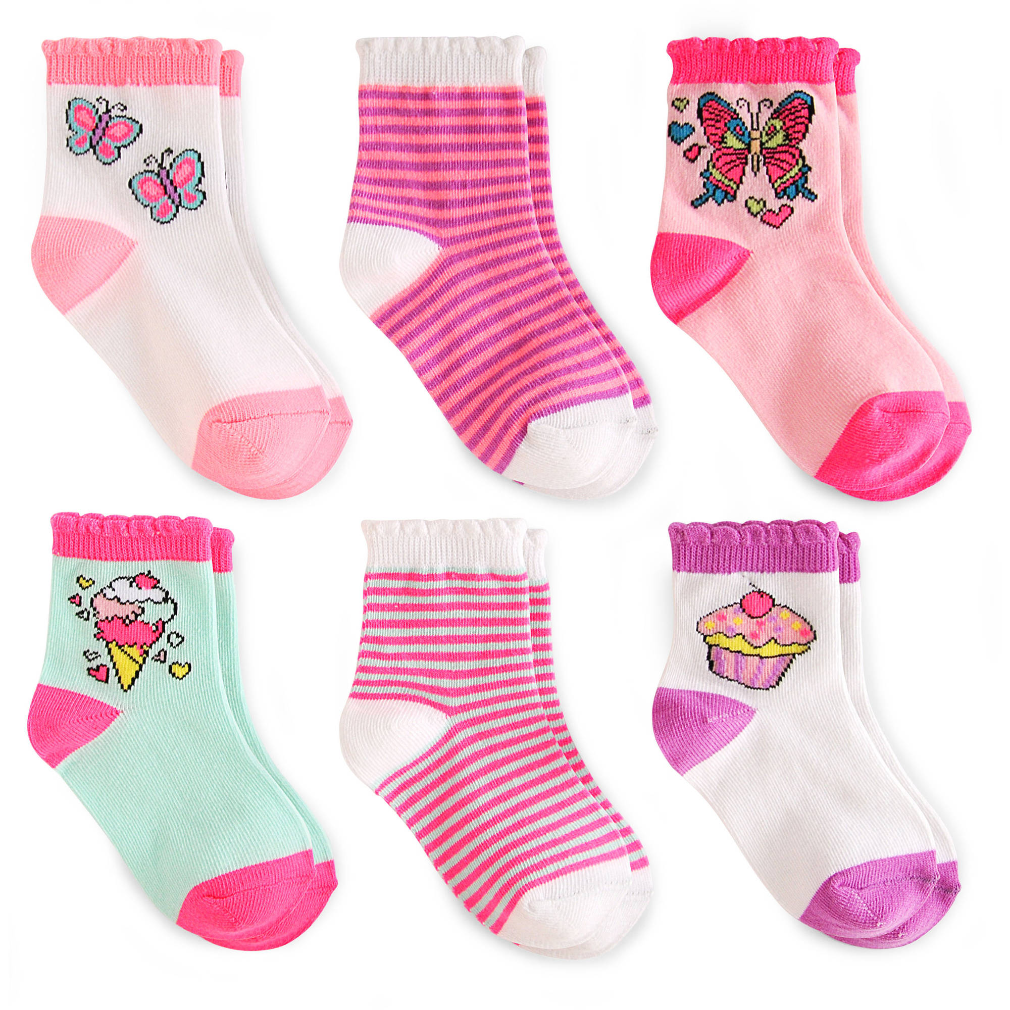 Garanimals Baby Toddler Girls Crew Socks Ages NB-5T, 6-Pack