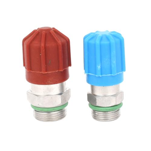 2 x Red Blue 1/4PT 3/8PT Air Conditioning Service Valve Core Cap Kit for BMW