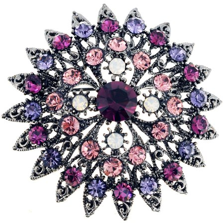 Amethyst Flower Bridal Wedding Pin Brooch and -