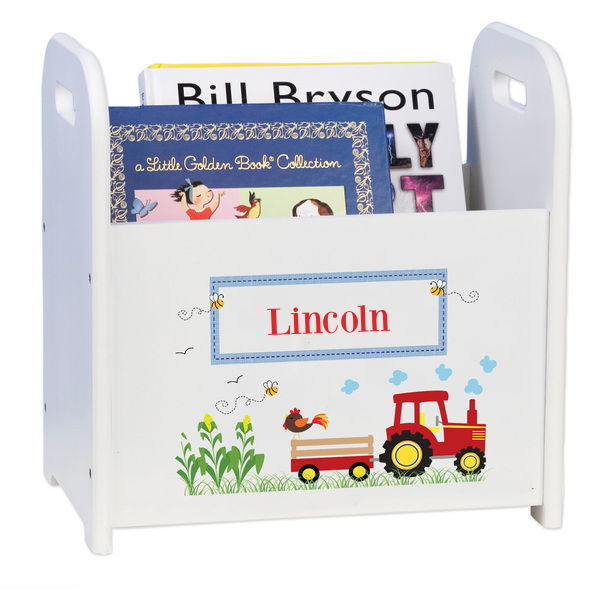 Personalized Red Tractor Caddy and Book Rack