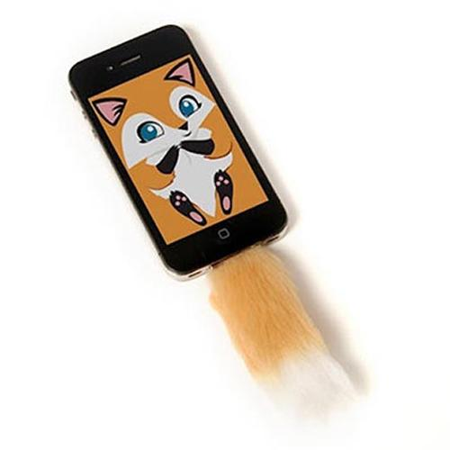 Faux Brown Fox Tail For Iphone Clip in Accessory With Screensaver