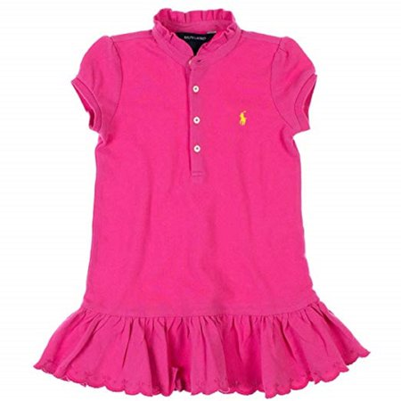 Ralph Lauren Girls Pony Logo Dress, Pink, 6X