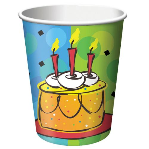 Club Pack of 96 Cake Celebration Disposable Paper Hot and Cold Drinking Party Cups 9 oz.