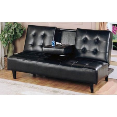Strange Hodedah Futon Sofa Bed Fold Up Down Recliner Couch With Drop Down Cup Holder Tray Brown Gamerscity Chair Design For Home Gamerscityorg