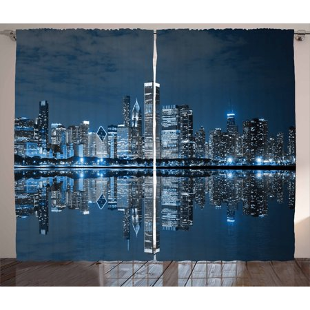 Chicago Skyline Curtains 2 Panels Set, Sleeping City Dramatic Urban Resting Popular American Lake Picture, Window Drapes for Living Room Bedroom, 108W X 108L Inches, Night Blue Grey, by Ambesonne ()