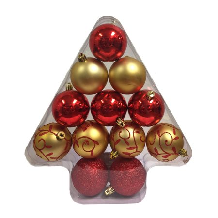 Red and Gold Shiny Glitter Matte Christmas Tree Ornaments 2.4 Inch Set of 12 Christmas Tree Ornament Sets