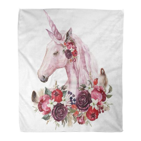 ASHLEIGH 50x60 inch Super Soft Throw Blanket Painting Watercolor Floral Boho Unicorn with Flower and Feather for Wedding Home Decorative Flannel Velvet Plush Blanket