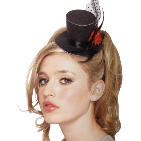 Leg Avenue Rose Clip-On Petite Glitter Top Hat with Polka Dot Mesh & Feather, One Size, Black