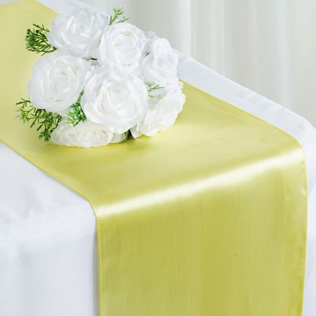 Satin Table Runner Wedding Party Banquet Yellow 12 x 108 ()