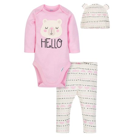 Gerber Baby Girl Onesies Bodysuit, Pants and Cap, 3pc - Girls Shopping Site