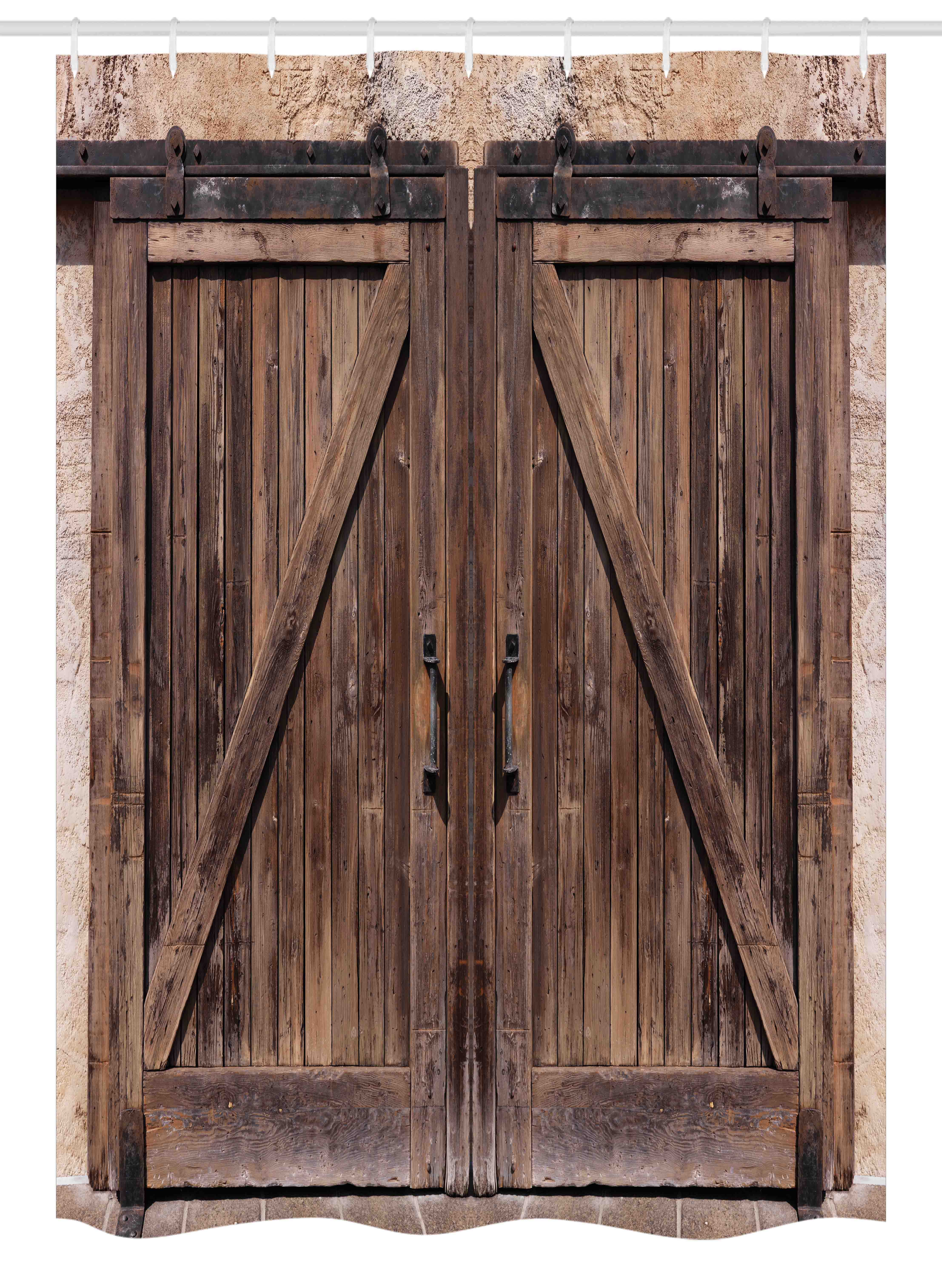 Rustic Stall Shower Curtain, Wooden Barn Door in Stone Farmhouse ...