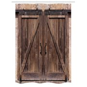 Rustic Stall Shower Curtain Wooden Barn Door In Stone Farmhouse Image Vintage Desgin Rural Art