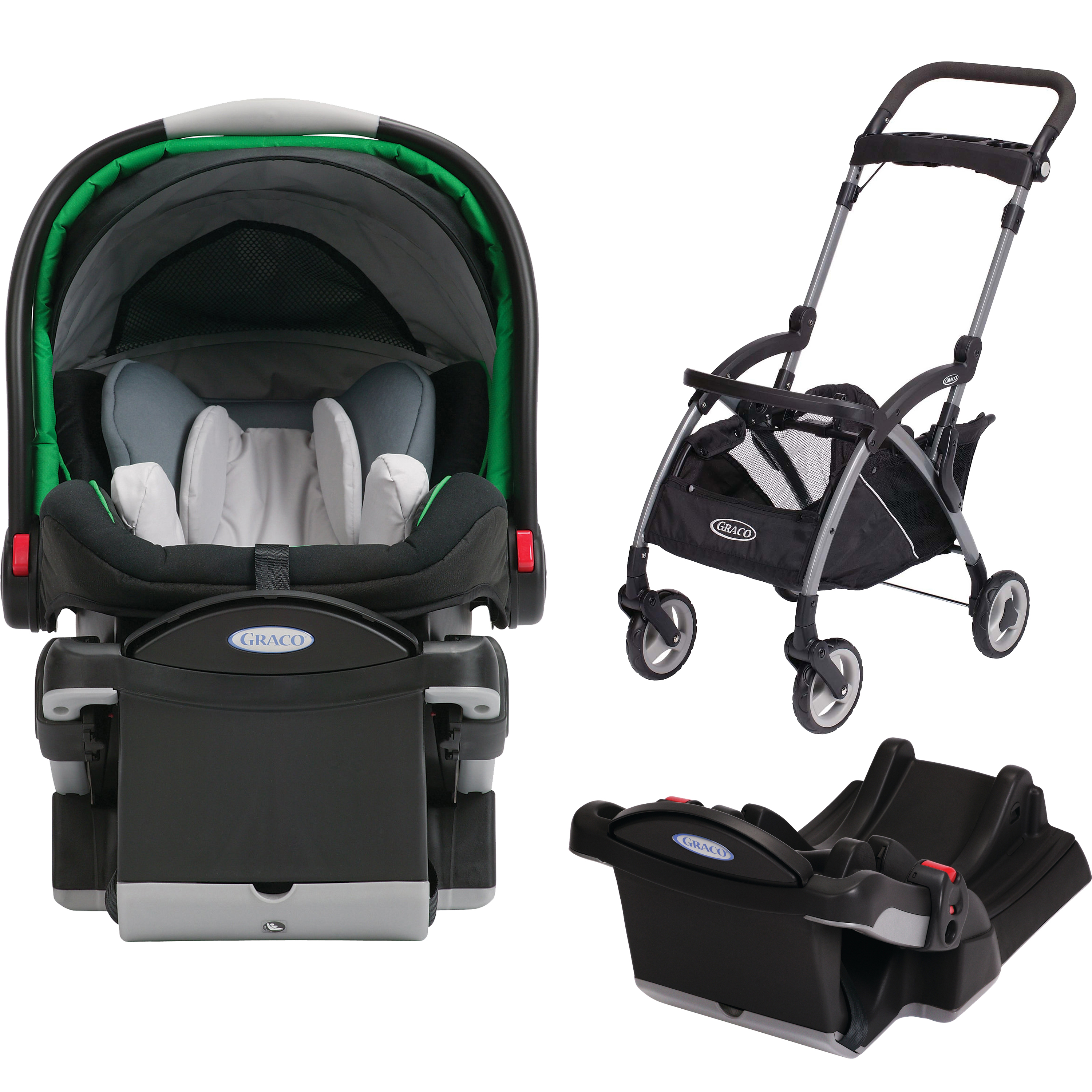 Graco SnugRide Click Connect 40 Infant Car Seat, Choose Your Color, WITH SnugRider Stroller Frame & Extra Car Seat Base