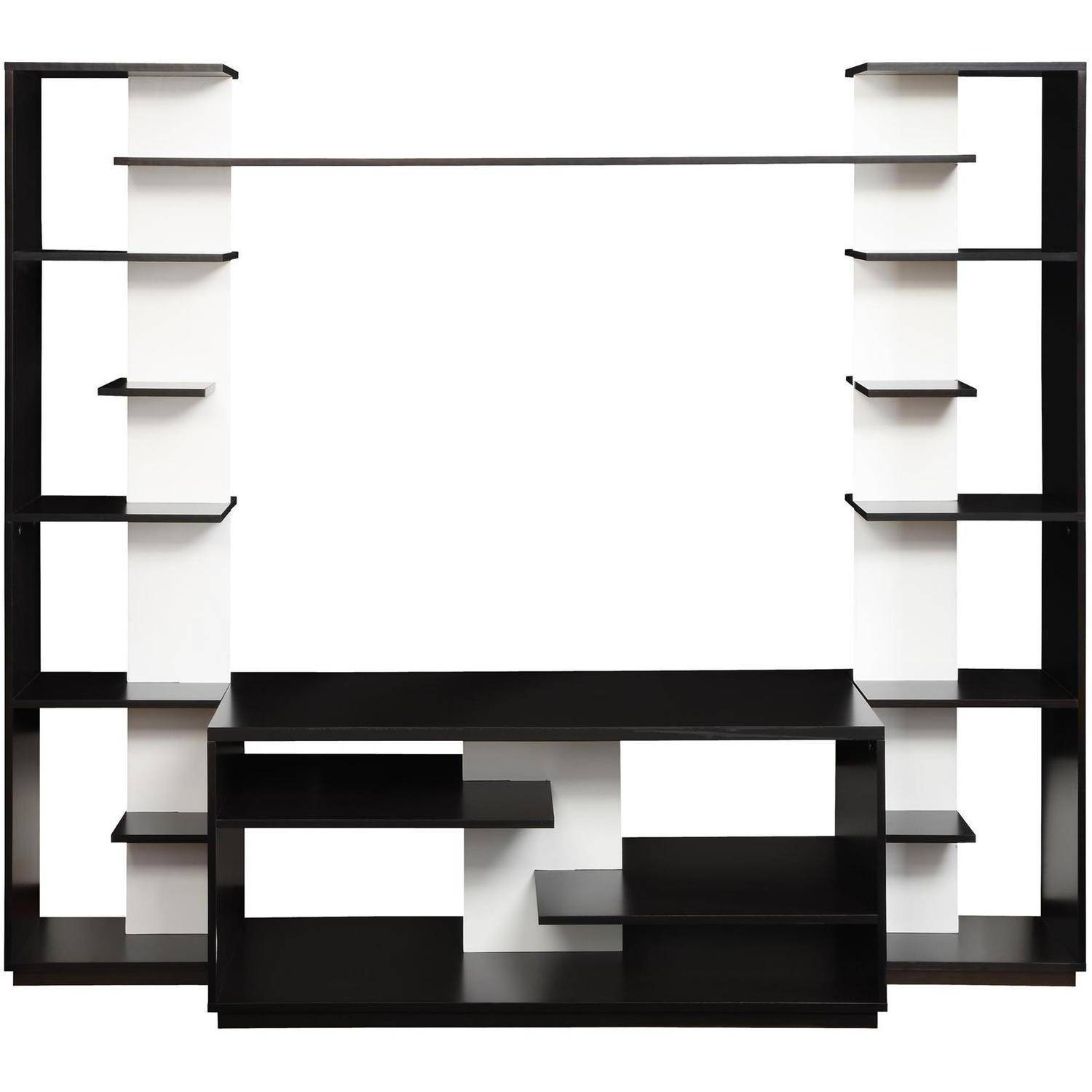 Altra Black and White Home Entertainment Center with Two Reversible ...