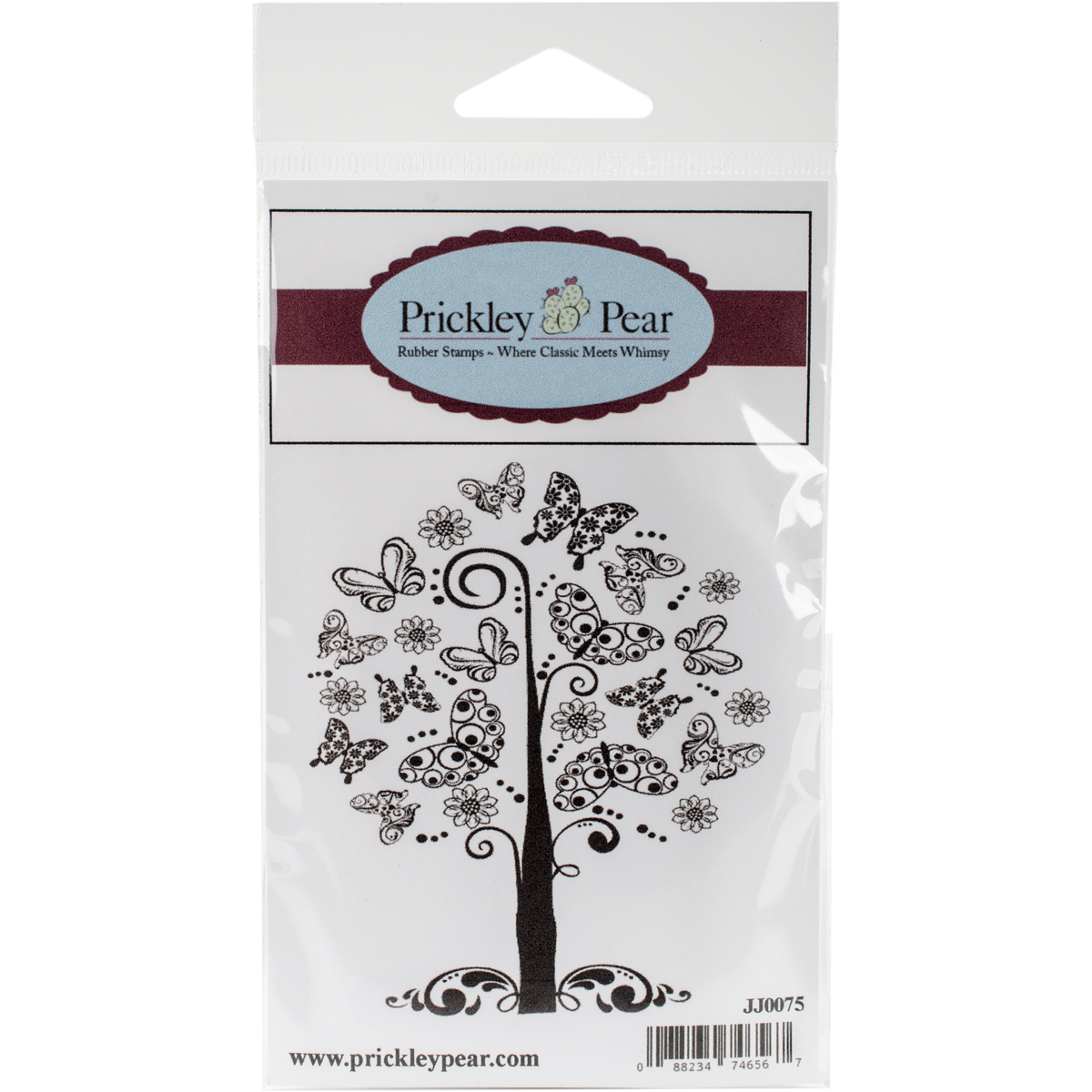 "Prickley Pear Cling Stamps 3.75""X2.5""-Butterfly Tree"