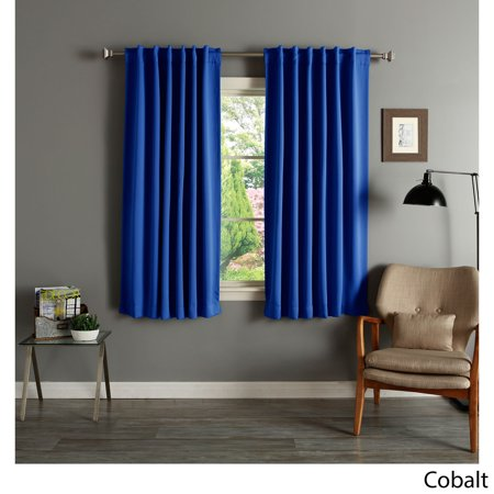 Aurora Home Solid Insulated Thermal Blackout 63 Inch Curtain Panel Pair