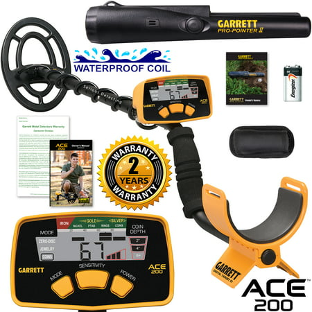 Detects Water (Garrett ACE 200 Metal Detector with Waterproof Search Coil and Pro-Pointer II )