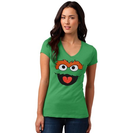 Sesame Street Oscar the Grouch Face Junior Ladies V-Neck T-Shirt