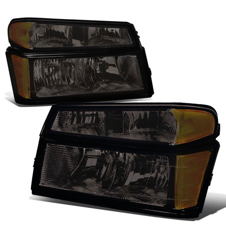 For 2004 to 2012 Chevy Colorado GMC Canyon / Isuzu i280 i290 i350 4Pcs Headlight + Bumper Lamp Smoked Housing Amber Corner 05 06 07 08 09 10 11 06 Chevy Colorado Truck